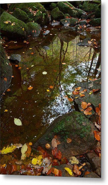 Autumn Reflections Padley Gorge Metal Print