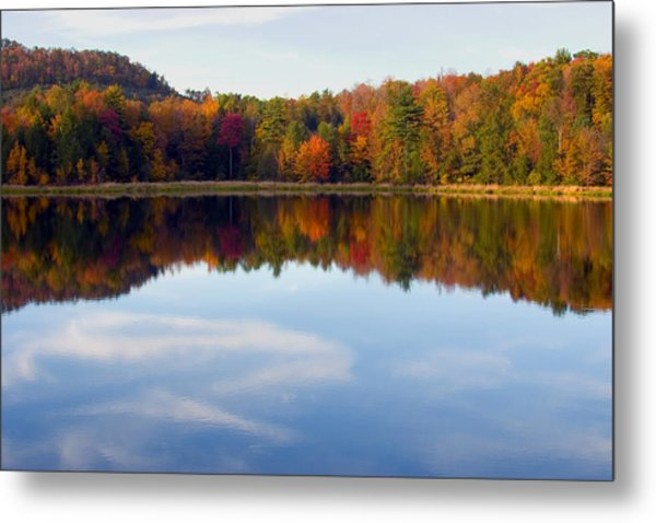 Autumn Shoreline Reflection Metal Print