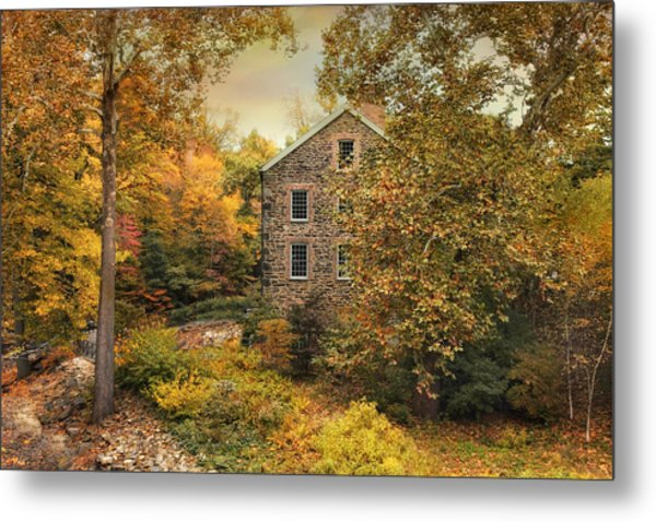 Autumn Stone Mill Metal Print