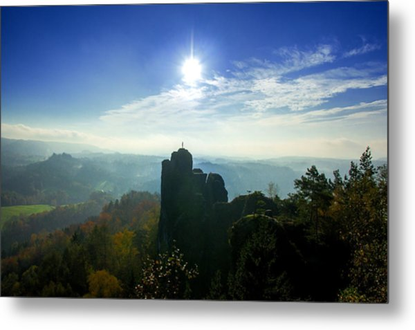 Autumn Sunrise In The Elbe Sandstone Mountains Metal Print