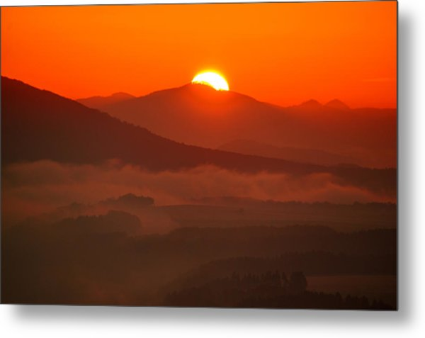 Autumn Sunrise On The Lilienstein Metal Print