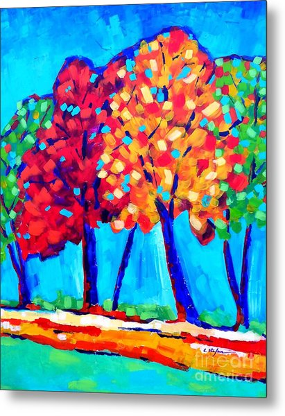 Metal Print featuring the painting Autumn Trees by Cristina Stefan
