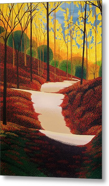 Autumn Walk Metal Print by Michael Wicksted