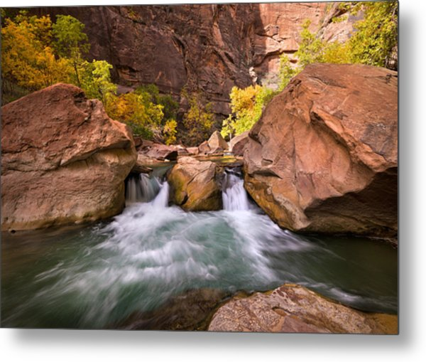 Autumn Waterfall In Zion Metal Print