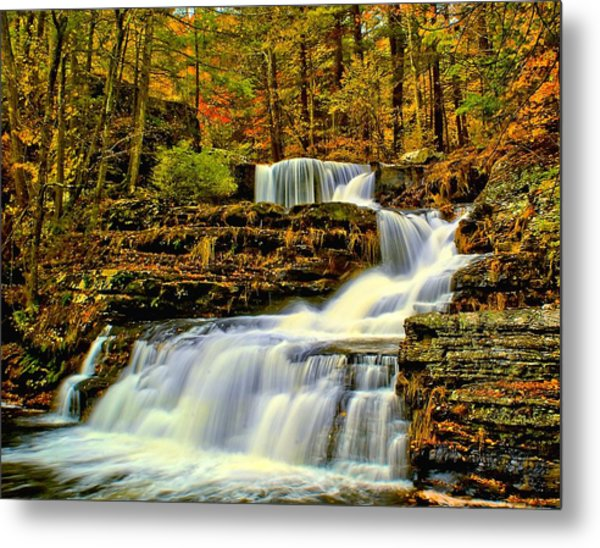 Autumn By The Waterfall Metal Print