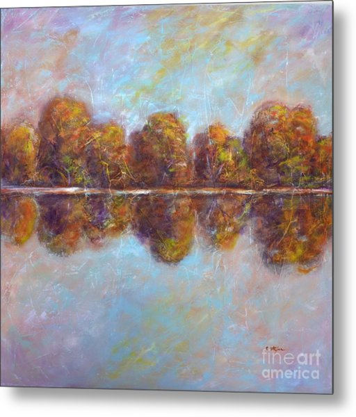 Metal Print featuring the painting Autumnal Atmosphere by Cristina Stefan
