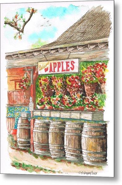 Avila Valley Barn With Delicious Apples Sign In Avila Beach - California Metal Print