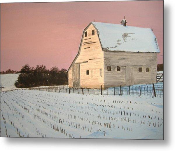 Award-winning Original Acrylic Painting - Nebraska Barn Metal Print
