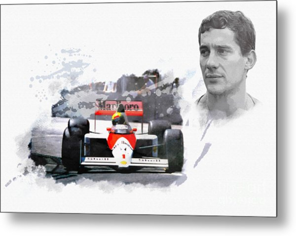 Ayrton Senna Genius Metal Print