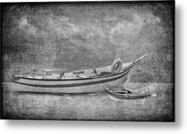 Azorean Fishing Boats B/w Metal Print