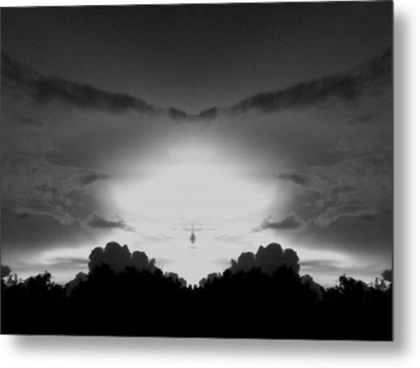 Helicopter And Stormy Sky Metal Print