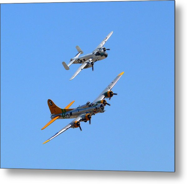 Metal Print featuring the photograph B25 Mitchell And B17 Flying Fortress by Jeff Lowe