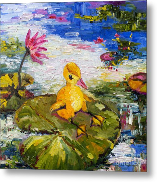 Baby Duck On Lily Pad Lazy Summer Metal Print