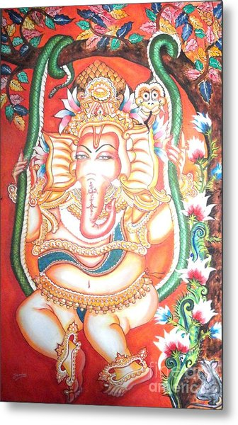 Baby Ganesha Swinging On A Snake Metal Print by Jayashree