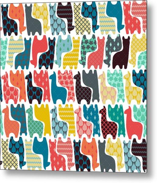 Baby Llamas Metal Print