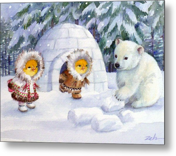 Baby Polar Bear Metal Print