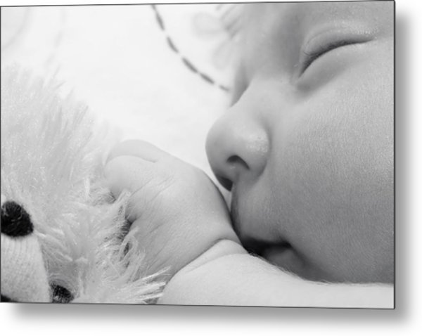 Baby Sleeping With Teddy Bear Metal Print