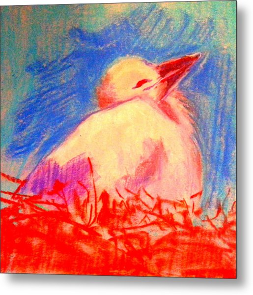 Baby Stork Metal Print