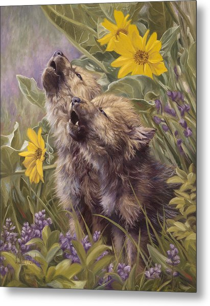 Baby Wolves Howling Metal Print