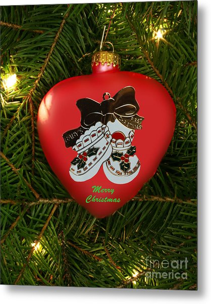 Baby's 1st Christmas Heart Ornament Metal Print by Linda Rae Cuthbertson