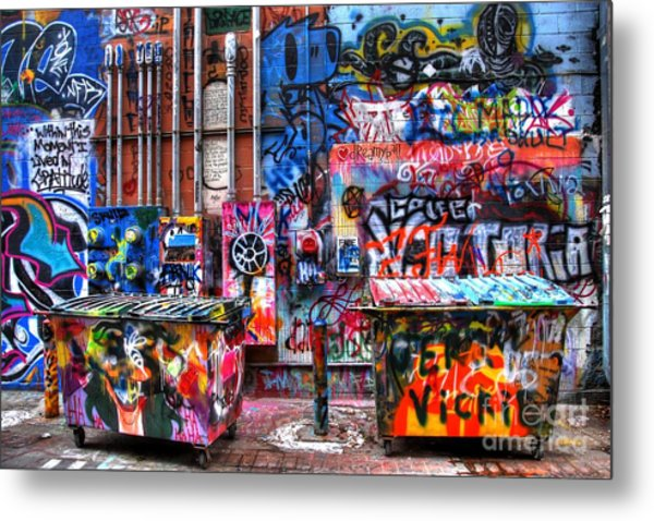 Back Alley Canvas Metal Print