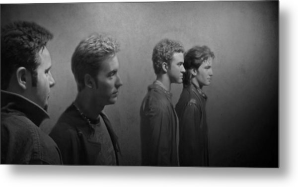 Back Stage With Nsync Bw Metal Print