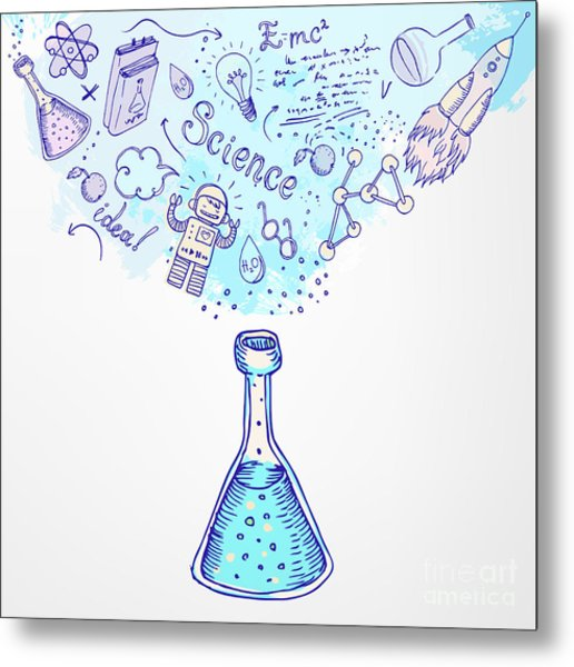 Back To School Science Learning Symbols Metal Print
