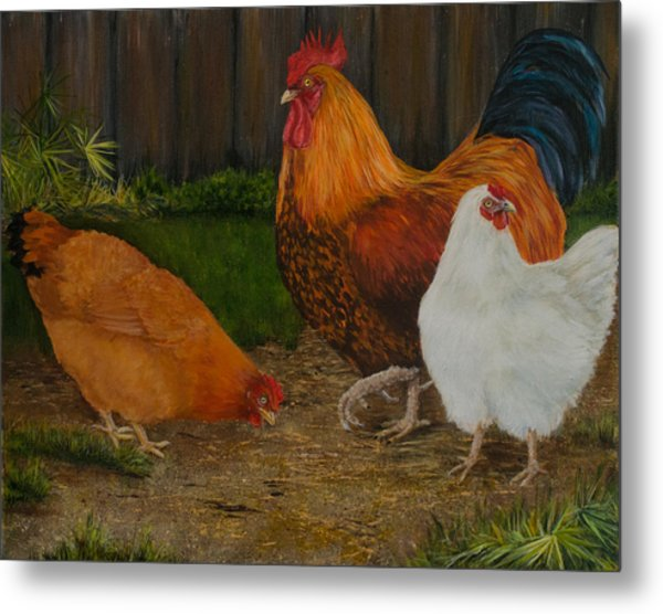 Back Yard Flock Metal Print