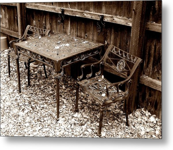 Back Yard Iron Metal Print