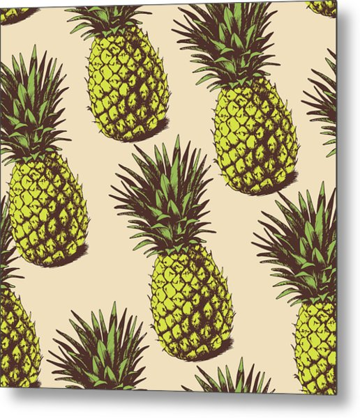 Background With  Pineapples Metal Print