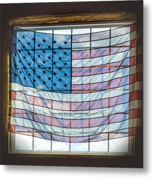 Backlit American Flag Metal Print
