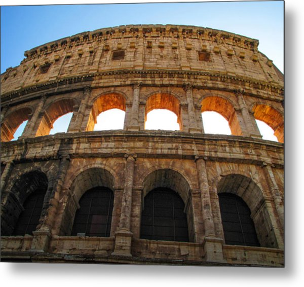 Metal Print featuring the photograph Backlit  Colosseum by Joe Winkler