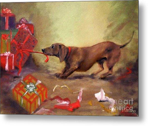 Bad Dog Christmas Metal Print by Stella Violano
