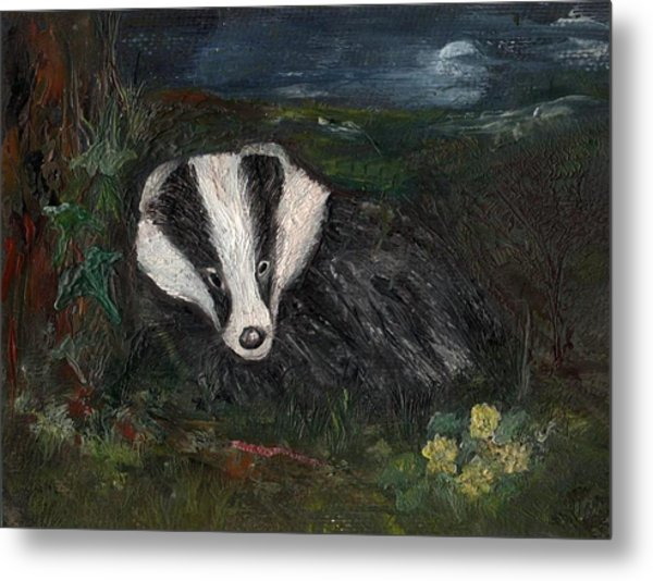 Badger Metal Print by Carol Rowland
