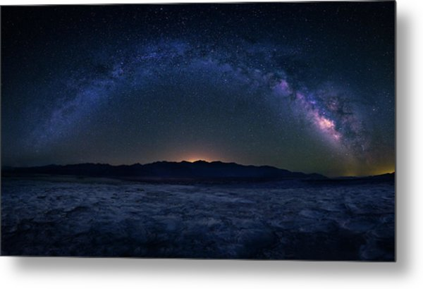 Badwater Under The Night Sky Metal Print by Michael Zheng