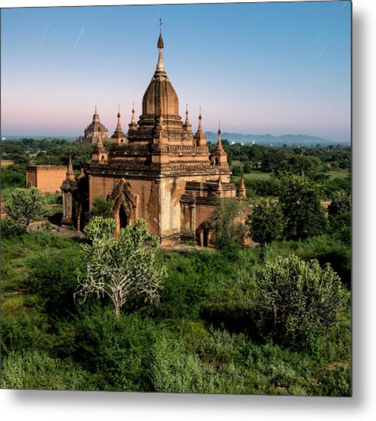 Bagan, Ancient Temple Lit By Moonlight Metal Print by Martin Puddy