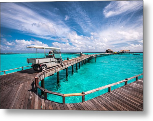 Baggy On The Jetty Over The Blue Lagoon Metal Print