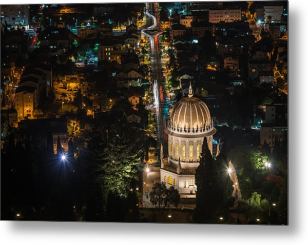 Baha'i Temple At Night Metal Print