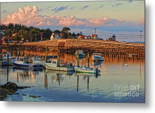 Bailey Island Bridge At Sunset Metal Print