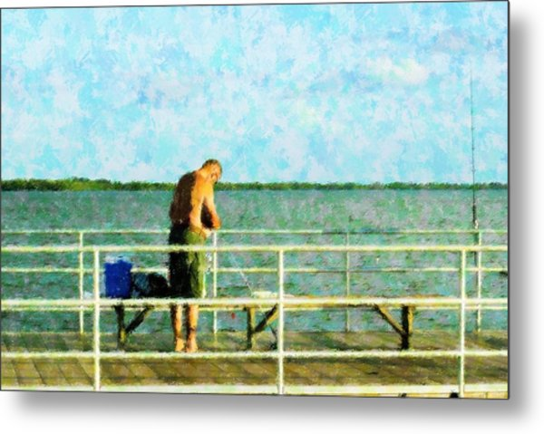 Baiting The Hook Metal Print by Florene Welebny