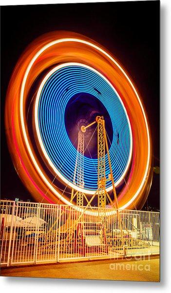 Balboa Fun Zone Ferris Wheel At Night Picture Metal Print