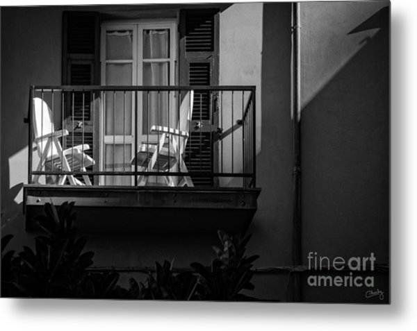 Balcony Bathed In Sunlight Metal Print