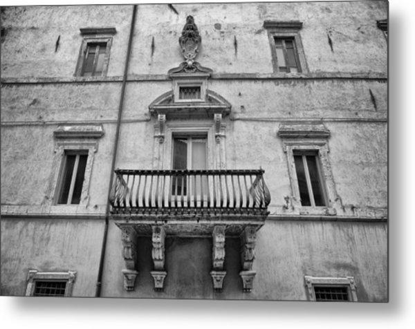 Balcony In Assisi Metal Print
