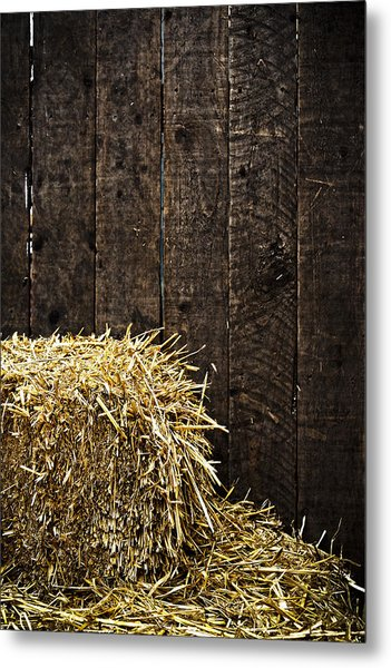 Bale Of Straw And Wooden Background Metal Print