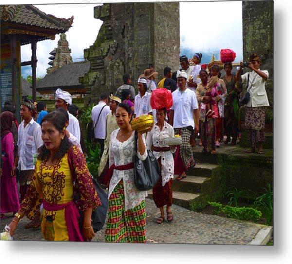 Balinese Leaving Beratan Temple Bali Metal Print