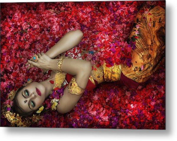 Balinese Woman Among The Flowers Metal Print by Taman Tan