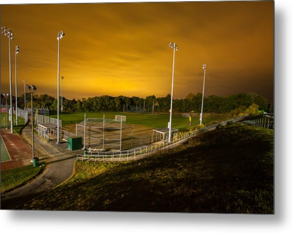 Ball Field At Night Metal Print