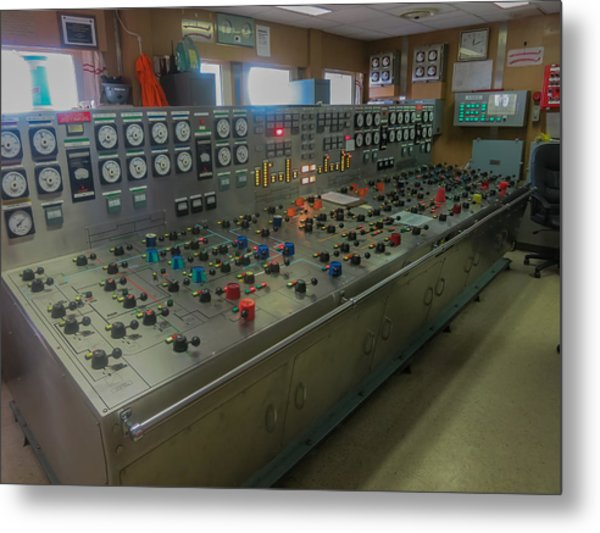 Ballast Control Panel Of The Ocean Valiant Semi Submersible Drilling Rig Metal Print