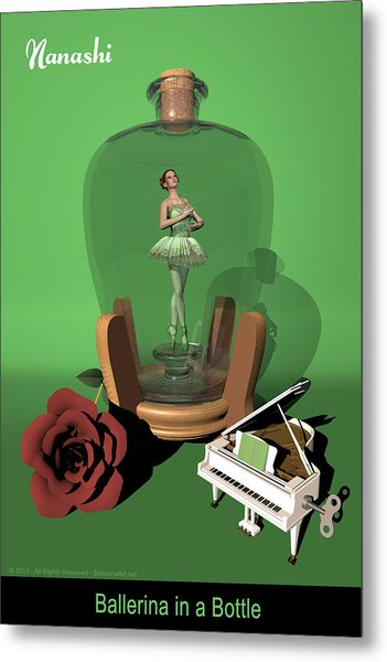 Ballerina In A Bottle - Nanashi Metal Print by Alfred Price