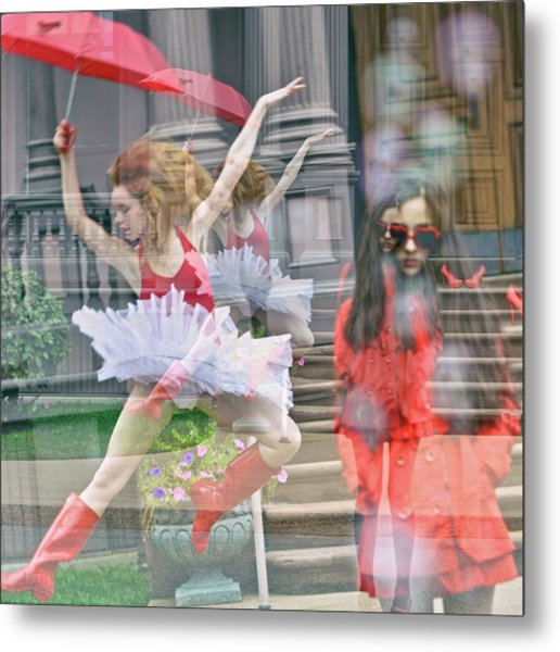 Ballerina With Mysterious Girl Metal Print